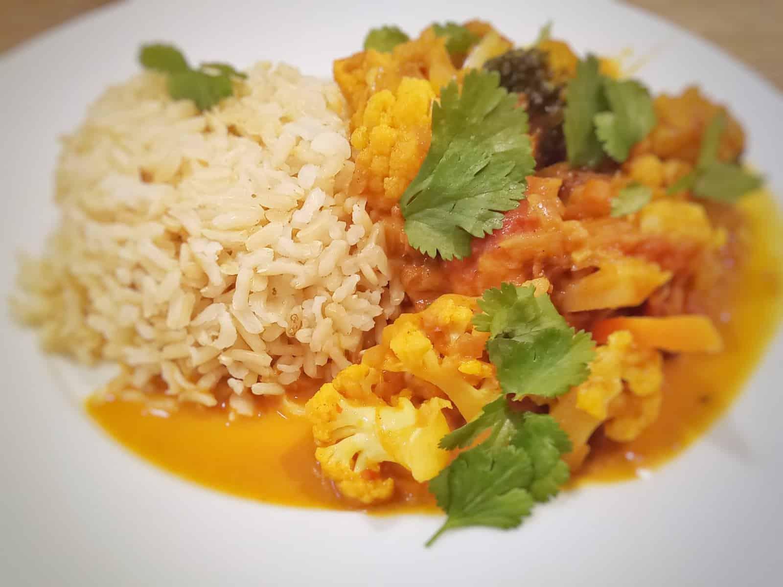 Kohlcurry mit Reis