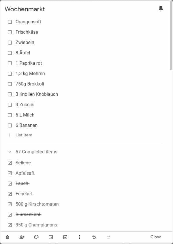 Einkaufsliste mit Google Keep
